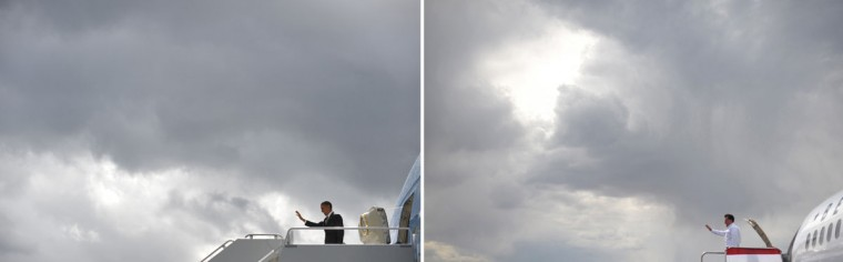 This combination of file pictures shows U.S. President Barack Obama (L) waving as he steps off Air Force One upon arrival at King County International Airport in Seattle on September 25, 2011, and U.S. Republican presidential candidate Mitt Romney (R) boarding his campaign plane after a campaign rally September 24, 2012 at Pueblo Memorial Airport in Pueblo, Colorado September 24, 2012. (Mandel Ngan/AFP/Getty Images)