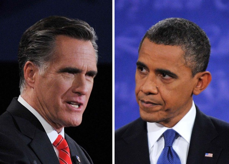 This combination of images shows, Republican presidential candidate Mitt Romney (L) and U.S. President Barack Obama debating on October 3, 2012 in Denver, Colorado, during the first of three presidential debates. (Nicholas Kamm/AFP/Getty Images)