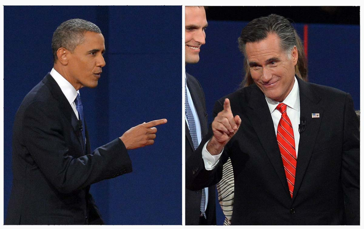 A side-by-side photo comparison of Obama and Romney on the campaign trail