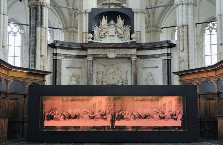'The Last Supper' (pink) by US artist Andy Warhol stands on show at the Nieuwe Kerk in Amsterdam. The painting, from the collection of the Andy Warhol Museum in Pittsburgh, is on show in Europe for the first time in 25 years. (Lex van Lies/AFP/Getty Images)