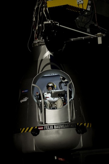 October 6, 2012: In this image obtained from www.redbullcontentpool.com, pilot Felix Baumgartner of Austria sits in his capsule during the preparations for the final manned flight of the Red Bull Stratos mission in Roswell, New Mexico. (Joerg Mitter/AFP/Getty Images)