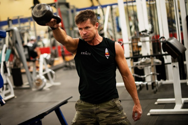 October 7, 2012: In this image obtained from www.redbullcontentpool.com, pilot Felix Baumgartner of Austria works out in a gym during the preparations for the final manned flight of the Red Bull Stratos mission in Roswell, New Mexico. (Joerg Mitter/AFP/Getty Images)