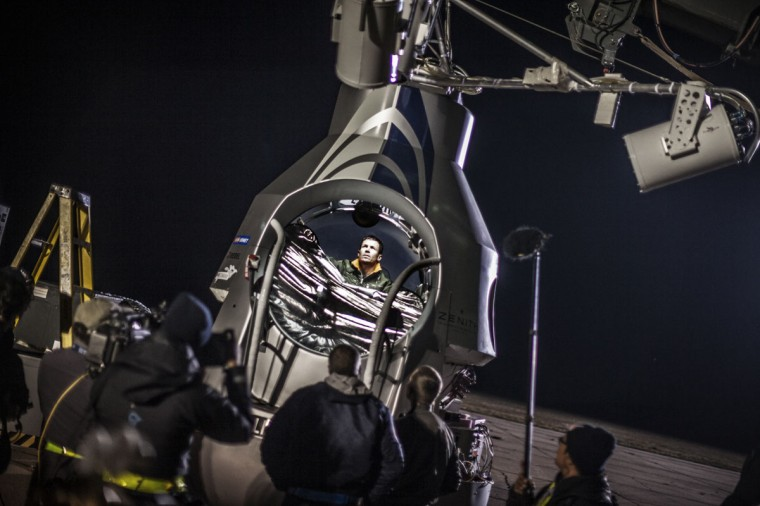 October 9, 2012: This picture provided by www.redbullcontentpool.com shows pilot Felix Baumgartner of Austria sitting in his capsule prior to the final manned flight of Red Bull Stratos in Roswell, New Mexico. (Joerg Mitter/AFP/Getty Images)