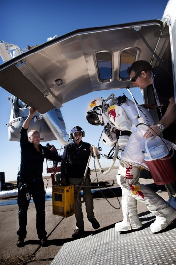 October 9, 2012: This picture provided by www.redbullcontentpool.com shows pilot Felix Baumgartner of Austria stepping out of his trailer before the scheduled take off of Red Bull Stratos in Roswell, New Mexico. (Joerg Mitter/AFP/Getty Images)