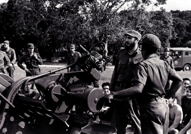 In this photo released by Cuban newspaper Granma, Cuban leader Fidel Castro inspects an anti-aircraft unit at an undisclosed place during the 1962 missile crisis. (Granma/AFP/Getty Images)