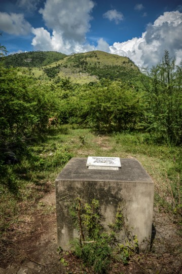 A marble plaque marks the place where a Russian R-12 theater missile was deployed during the 1962 missile crisis in San Cristobal, Cuba. (Alberto Roque/AFP/Getty Images)