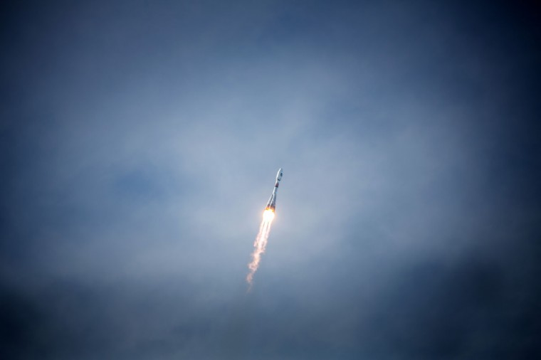 October 12, 2012: A Soyuz rocket carrying a pair of Galileo In-Orbit Validation satellites lifts off from Europe's Spaceport in Sinnamary, 12km from Kourou, French Guiana. (Jody Amiet/AFP/Getty Images)
