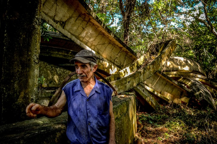 Cuban farmer Jose Teston stands at the site of a Russian R-12 missile silo built during the 1962 missile crisis, in San Cristobal, Cuba. (Alberto Roque/AFP/Getty Images)