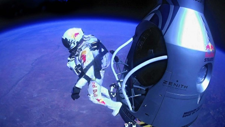 Felix Baumgartner jumps out of the capsule during the final manned flight for Red Bull Stratos on October 14, 2012. The Austrian daredevil became the first man to break the sound barrier in a record-shattering freefall jump from the edge of space, organizers said. (Jay Nemeth/AFP/GettyImages - redbullpoolcontent.com)