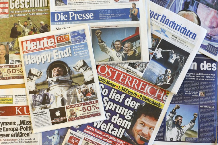 This picture taken on October 15, 2012 in Vienna shows frontpages of Austrian newspapers reporting Austria's Felix Baumgartner's jump from the edge of space. (Alexander Klein/AFP/Getty Images)