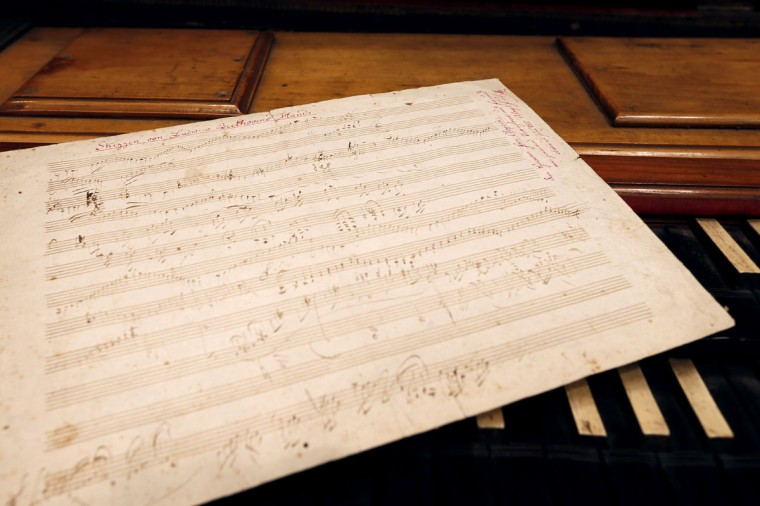 A picture taken on October 16, 2012 at Sotheby's auction house in Paris shows German composer and pianist Ludwig van Beethoven handwritten partition which will be auctioned at Sotheby's on October 17,2012. (Kenzo Tribouillard/AFP/Getty Images)
