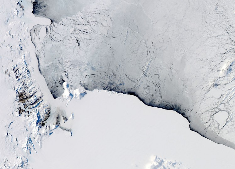 This October 16, 2012 NASA Aqua satellite image captures by the on board Moderate Resolution Imaging Spectroradiometer(MODIS) shows a view of the Western Ross Sea and Ice Shelf, Antarctica. (NASA HO/AFP/Getty Images)