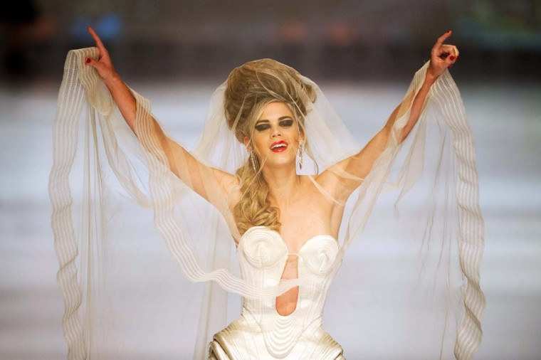A model presents a creation by French designer Jean Paul Gaultier during the Cali Exposhow fashion week in Cali, Valle del Cauca department. Gaultier visit Latin America for the first time. (Luis Robay/Getty Images)