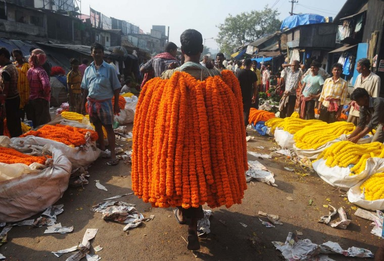 An Indian vendor carries flower garlands over his shoulder as he walks down a wholesale flower market in Kolkata. Demand for flowers are high for the forthcoming Hindu festival Durga Puja, with added price increases this season due to rising diesel costs in the distribution chain. The five-day period of worship of Hindu goddess Durga, who is attributed as the destroyer of evil, commences on October 20. (Dibyangshu Sarka/Getty Images)