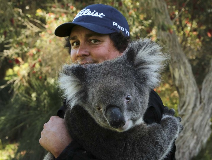 US golfer Jason Dufner holds a koala after the first day of the Perth International golf tournament at Lake Karrinyup in Perth on October 18, 2012. Dufner is the favorite for the event worth 2.04 million. (Tony Ashby/AFP/Getty Images)