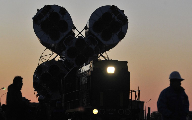 October 21, 2012: The Soyuz TMA-06M spaceship is transported for its launch to the International Space Station (ISS) at the Russian leased Kazakh Baikonur cosmodrome. (Vyacheslav Oseledko/AFP/Getty Images)