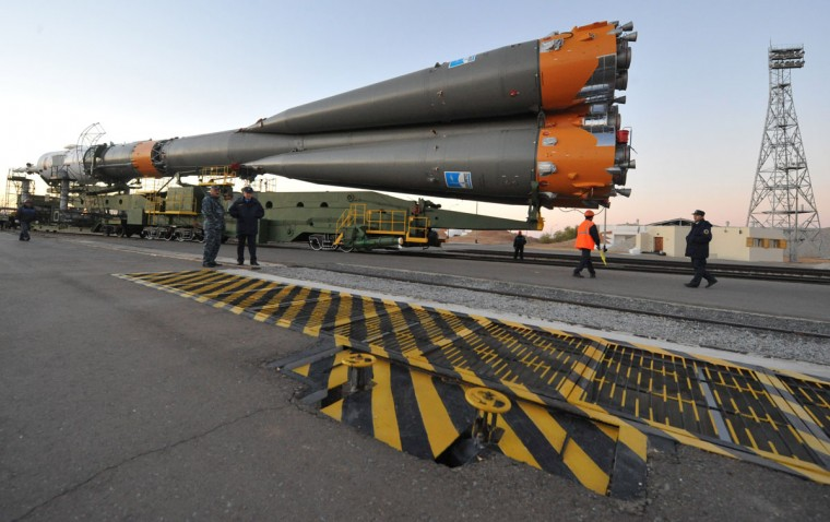 October 21, 2012: The Soyuz TMA-06M spaceship is mounted on a launch pad at the Russian leased Kazakh Baikonur cosmodrome. (Vyacheslav Oseledko/AFP/Getty Images)
