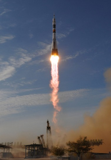 October 23, 2012: The Soyuz TMA-06M spacecraft blasts off from the Russian leased Kazakhstan's Baikonur cosmodrome. (Vyacheslav Oseledko/AFP/Getty Images)