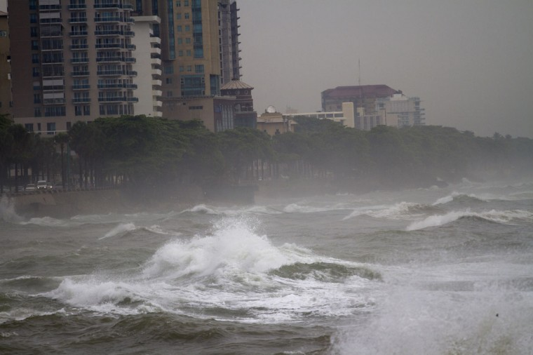 October 24, 2012: Big waves caused by hurricane Sandy along the south coast of Santo Domingo. (Erika Santelices/AFP/Getty Images)