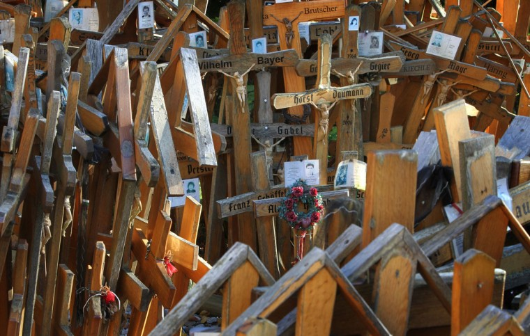 Hundreds of crosses are pictured in front of a pilgrimage chapel in Gschnaidt, near Altusried, southern Germany, on October 25, 2012. Pilgrims had begun to put up crosses with the names of friends and family next to the chapel to commemorate them. (Karl-Josef Hildenbrand/AFP/Getty Images)
