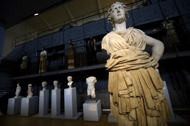 Sculptures are displayed in the Centrale Montemartini museum in Rome. The museum shows hundreds of sculptures as a permanent collection, in the former Giovanni Montemartini Thermoelectric Centre, putting side by side two diametrically opposed worlds, those of classical art and industrial archaeology. (Filippo Monteforte/AFP/Getty Images)