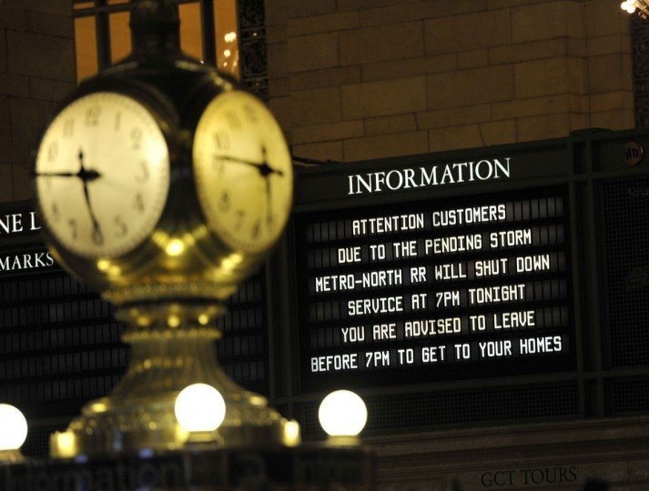 A sign on dispay in Grand Central Station in New York October 28, 2012 as the MTA has been began an orderly shutdown of commuter rail and subway service in preparation for Hurricane Sandy. (Timothy A. Clary/Getty Images)