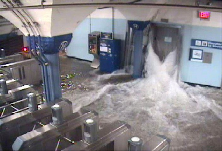This CCTV photo released by the official Twitter feed of The Port Authority of New York & New Jersey shows flood waters from Hurricane Sandy rushing in to the Hoboken PATH station through an elevator shaft on October 29, 2012 in Hoboken, New Jersey. Monster storm Sandy swept a wall of churning sea water and driving rain onto the eastern United States, flooding major cities and leaving death and chaos in its wake. (The Port Authority of New York & New JerseyGetty Images)