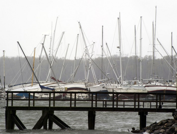October 30, 2012: Sailboats rest on the ground after being tipped over by Hurricane Sandy on City Island in New York. US President Obama declared New York a disaster area. (Don Emmert/AFP/Getty Images)