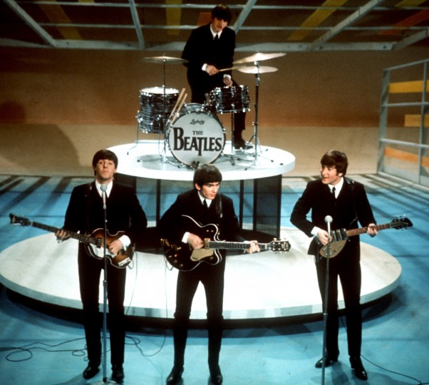 "Feb. 9, 1964 - The Beatles perform on the CBS ""Ed Sullivan Show"" in New York. (AP Photo)"