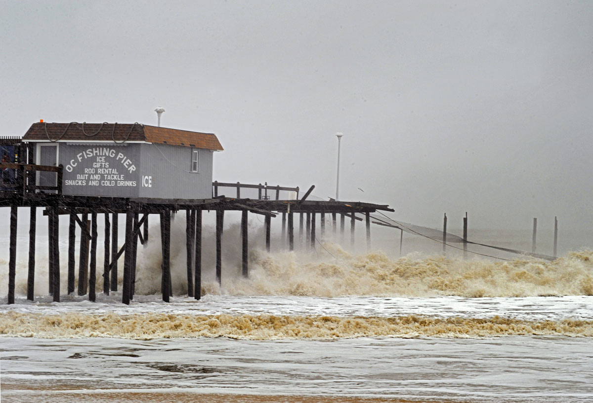 Maryland s ocean city wakes up to sandy damage for Oceanic fishing pier