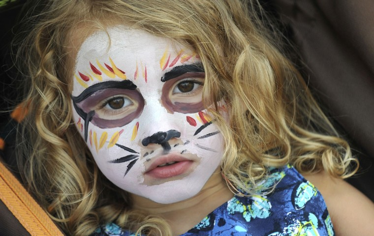 Aug. 20: Hot August Blues Festival. Lyla Heath, 3, of Damascus poses after having her face painted at Hot August Blues, a day-long music festival featuring some of the country's finest blues and roots music in Oregon Ridge Park. (Lloyd Fox/Baltimore Sun)