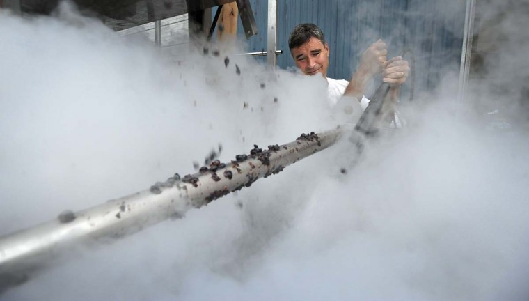 Ed Boyce, co-owner of Black Ankle Vineyards, sprays carbon dioxide into a cannon ball tank of crushed grapes. This process keeps the grapes from oxidizing. (Kim Hairston/Baltimore Sun)