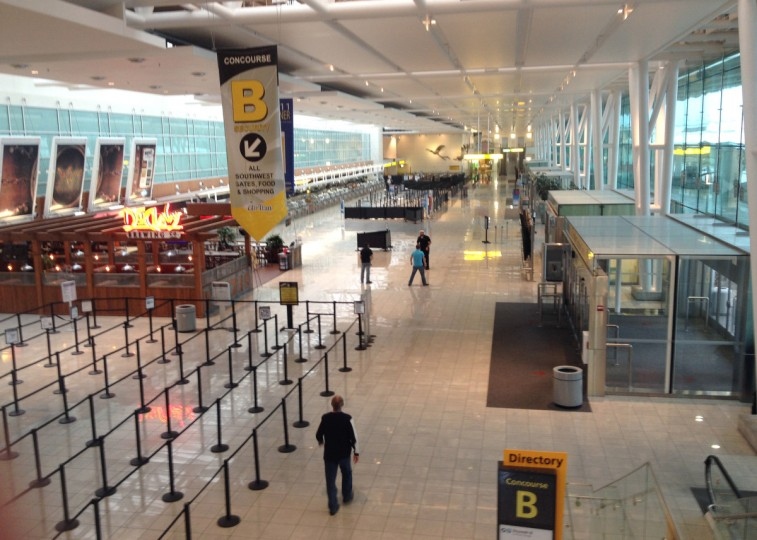 BWI Concourse B looks deserted Monday morning, as Sandy approaches the area. (Candus Thomson/Baltimore Sun)