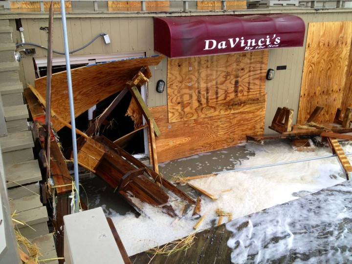 October 29, 2012: Hurricane Sandy begins her track inland. Da Vinci's by the Sea restaurant between 14th and 15th St. shows flooding as waves from hurricane Sandy spill into the opening at the boardwalk in Ocean City. (Karl Mertron Ferron/Baltimore Sun)