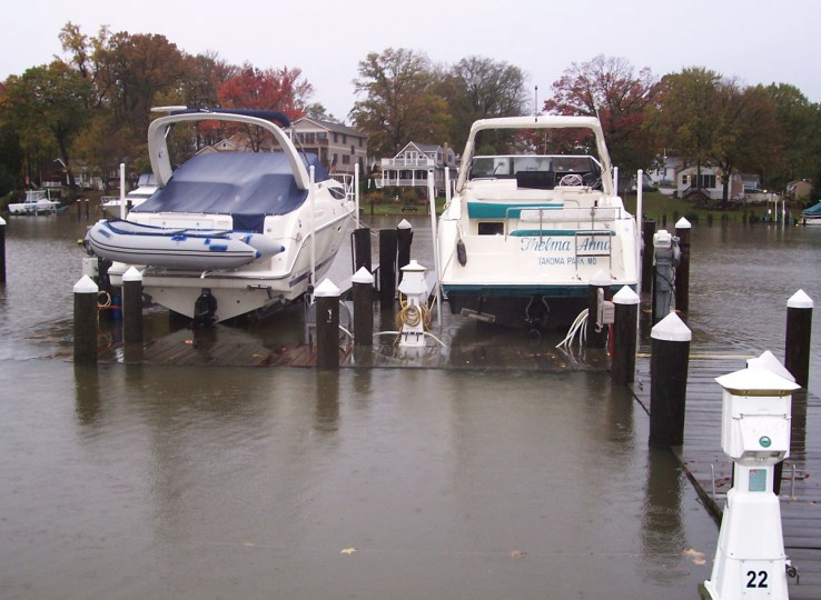 October 30, 2012: Most of pier at the Hopkins Creek marina on Middle River in Maryland is under water. (Mary Gail Hare/Baltimore Sun)