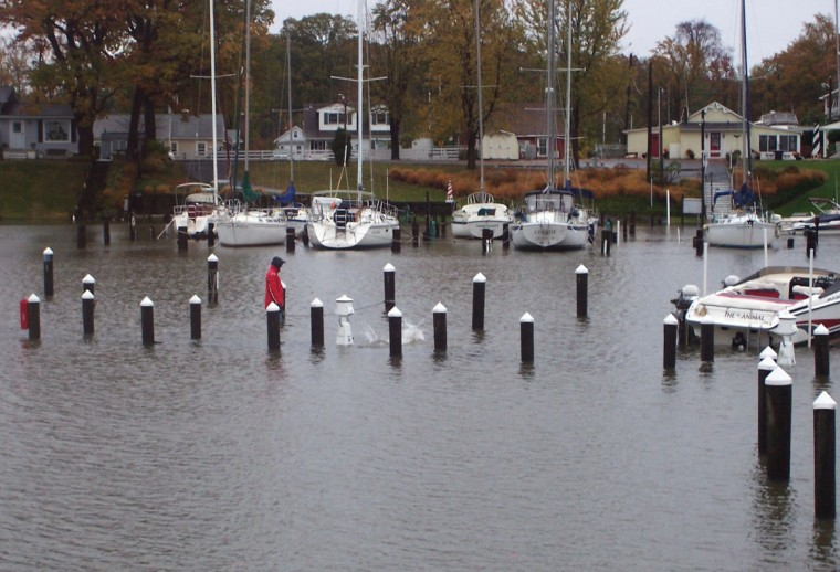 October 30, 2012: Woman walking her dog, who jumped into water, on submerged pier at Hopkins Creek marina. (Mary Gail Hare/Baltimore Sun)