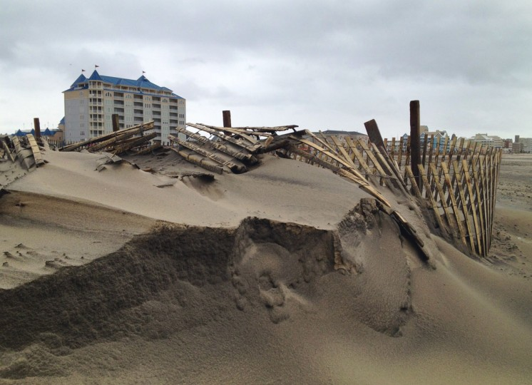 October 30, 2012: Sand dunes in Ocean City, Maryland, used as both a beach enhancement as well as beach protection, show signs of erosion from the waves off the Atlantic ocean with the boardwalk in background. (Karl Merton Ferron/Baltimore Sun)