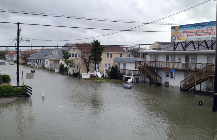 Water floods lower Ocean City. (Karl Merton Ferron / Baltimore Sun)