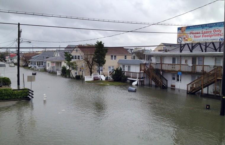 Water floods lower Ocean City. (Karl Merton Ferron / Baltimore Sun)