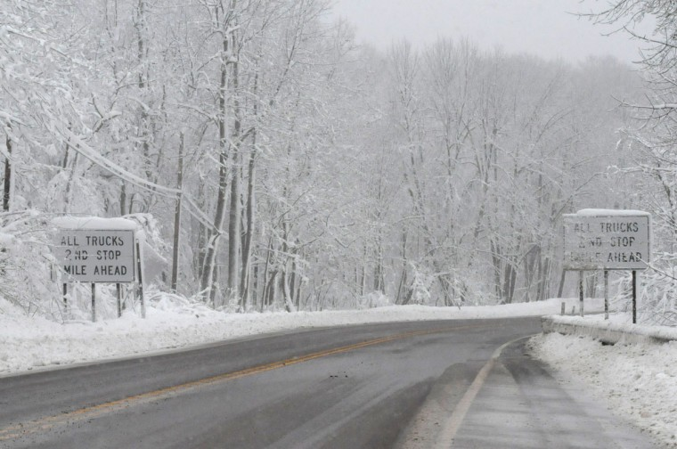 October 30, 2012: Snow blankets U.S. Route 40 west of Frostburg Tuesday morning. (Steven R. Bittner/Cumberland Times-News)