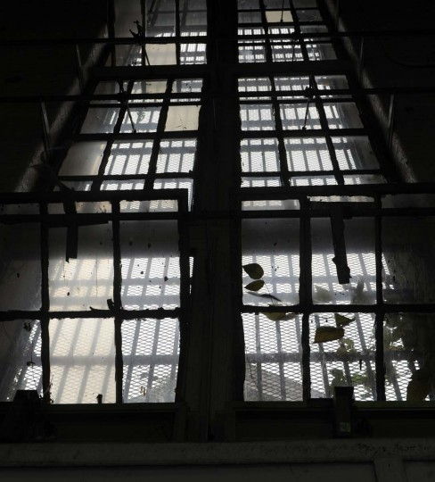 This is a window in the South Wing of the Maryland House of Correction, which is now empty and is gradually being taken apart. At the time of its closing, 842 inmates were housed in the facility. Many of the materials in the building will be recycled and reused within the Maryland prison system. (Barbara Haddock Taylor/Baltimore Sun)