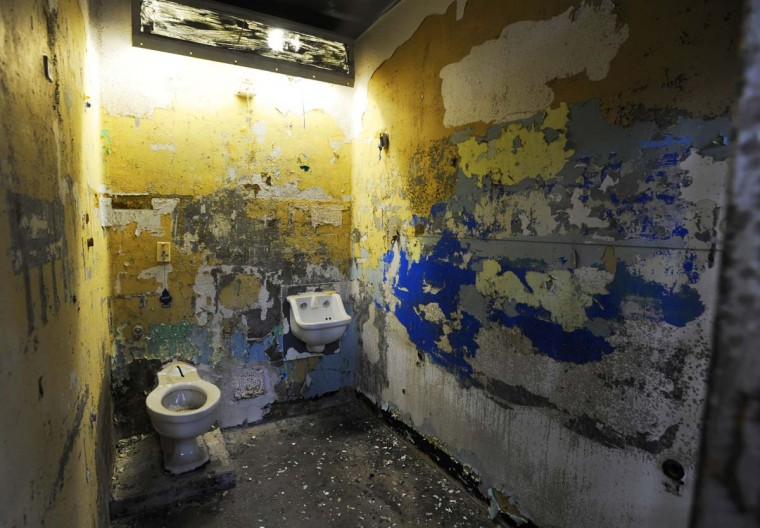 A cell on Tier B of the South Wing of the Maryland House of Correction, which was vacated five years ago and is gradually being taken apart. (Barbara Haddock Taylor/Baltimore Sun)