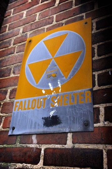 A Fallout Shelter sign with a handprint that is in a loading dock at the Maryland House of Correction. The prison, which is now empty and is gradually being taken apart, housed 842 inmates at the time of its closing. (Barbara Haddock Taylor/Baltimore Sun)