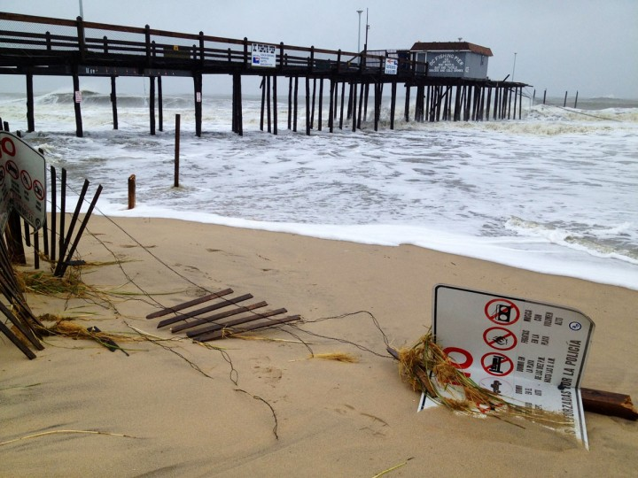 October 29, 2012: The ocean city pier shows damage from the first portion of hurricane Sandy at the Ocean City Inlet. (Karl Merton Ferron/Baltimore Sun)
