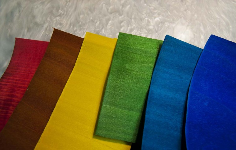 French veneers of different colors are only 1/20,000th inch thick, at Joss Cues. (Karl Merton Ferron/Baltimore Sun)