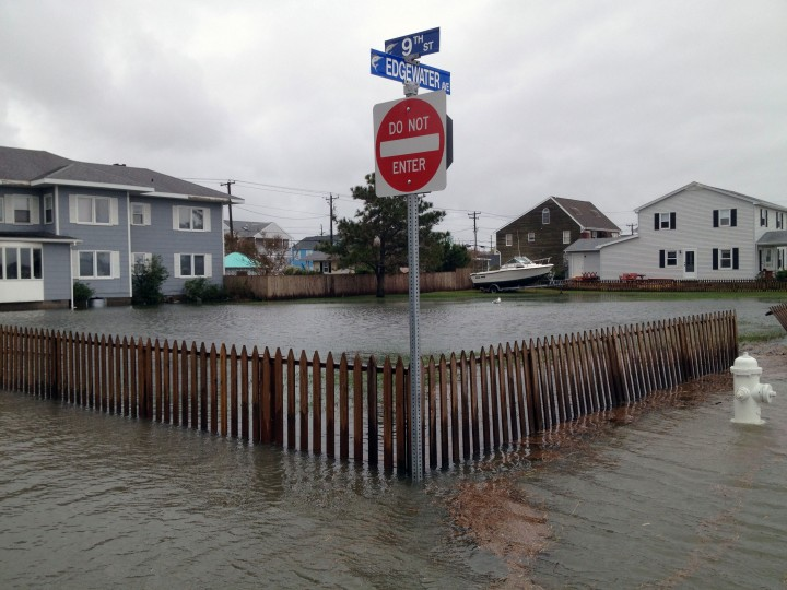 Yards and streets on the bayside are flooded by the tidal surge. (Karl Merton Ferron / Baltimore Sun)