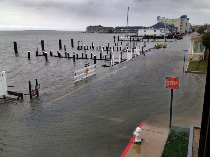 Edgewater Avenue is surrounded by a tidal surge from the bay in a view looking north at 8th Street. (Karl Merton Ferron / Baltimore Sun)