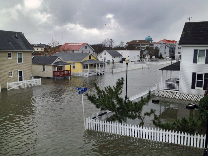 Properties on St. Louis Ave. and Caroline Street are flooded as the oceanside resort town begins recovery and cleanup. (Karl Merton Ferron / Baltimore Sun)