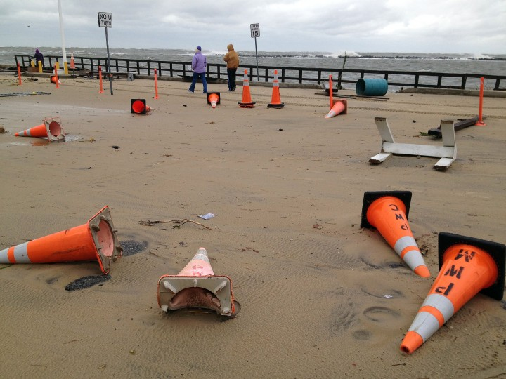 Traffic cones are scattered at the entrance of the inlet parking lot. (Karl Merton Ferron / Baltimore Sun)