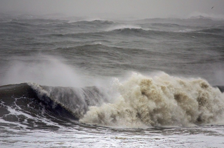 October 29, 2012: Waves much higher than normal break as they head towards the beach from the Atlantic Ocean as Hurricane Sandy, now a Category One system, turns towards the eastern seaboard Monday. (Karl Mertron Ferron/Baltimore Sun)